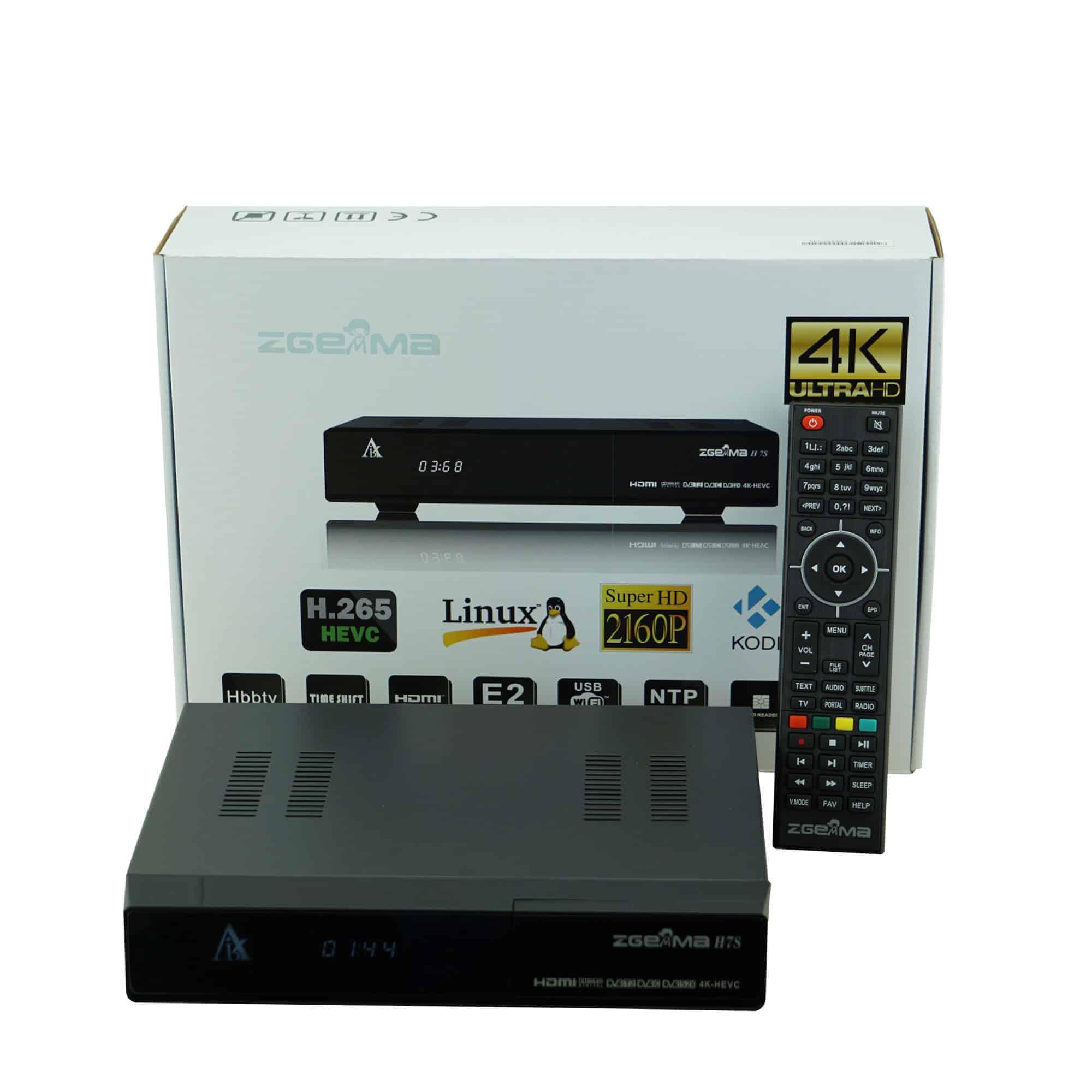 Zgemma H7S Best Fastest Box, Both Satellite and Cable 2 x DVB-S2X + 1 x  DVB-T2/C, Zgemma 4K Receiver - UHD - H 265 TV BOX